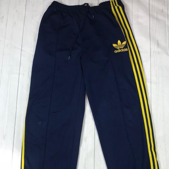 ADIDAS Vintage Sweatpants Mens Large Blue Yellow